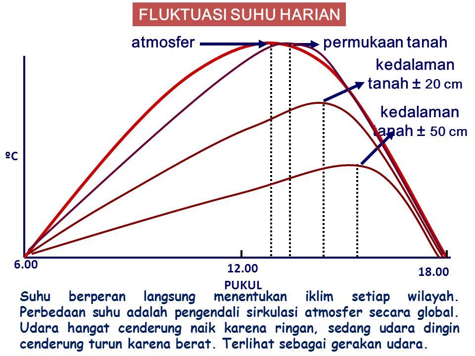 FLUKTUASI SUHU HARIAN atmosfer permukaan tanah kedalaman tanah ± 20 cm