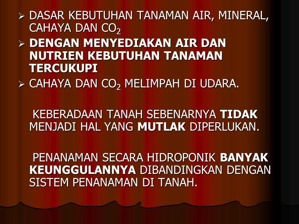 DASAR KEBUTUHAN TANAMAN AIR, MINERAL, CAHAYA DAN CO2