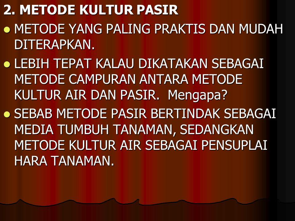 2. METODE KULTUR PASIR METODE YANG PALING PRAKTIS DAN MUDAH DITERAPKAN.