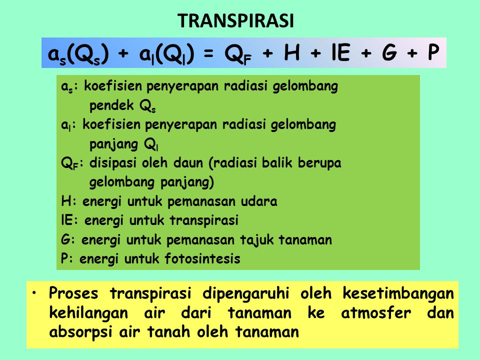 as(Qs) + al(Ql) = QF + H + lE + G + P