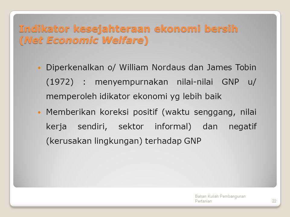 Indikator kesejahteraan ekonomi bersih (Net Economic Welfare)