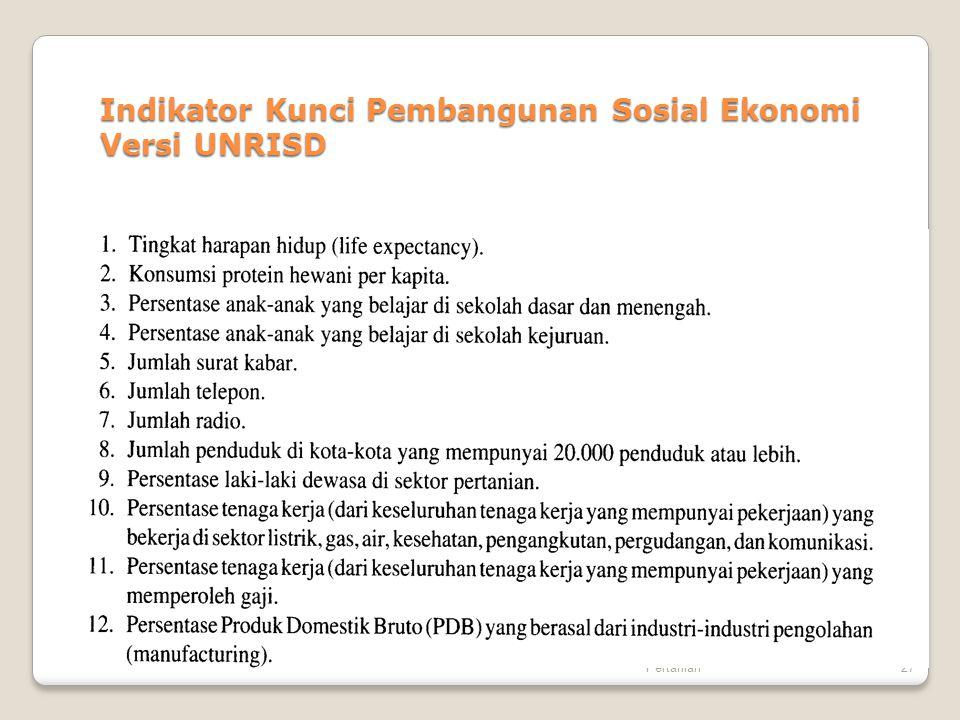 Indikator Kunci Pembangunan Sosial Ekonomi Versi UNRISD
