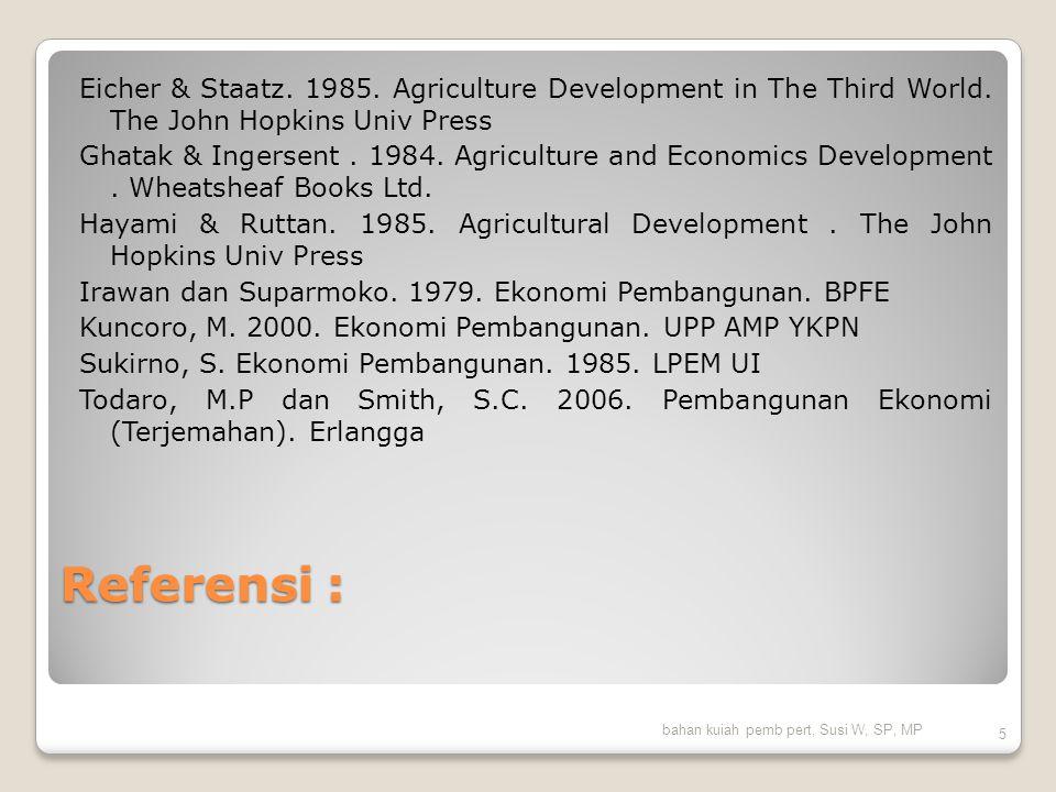 Eicher & Staatz. 1985. Agriculture Development in The Third World