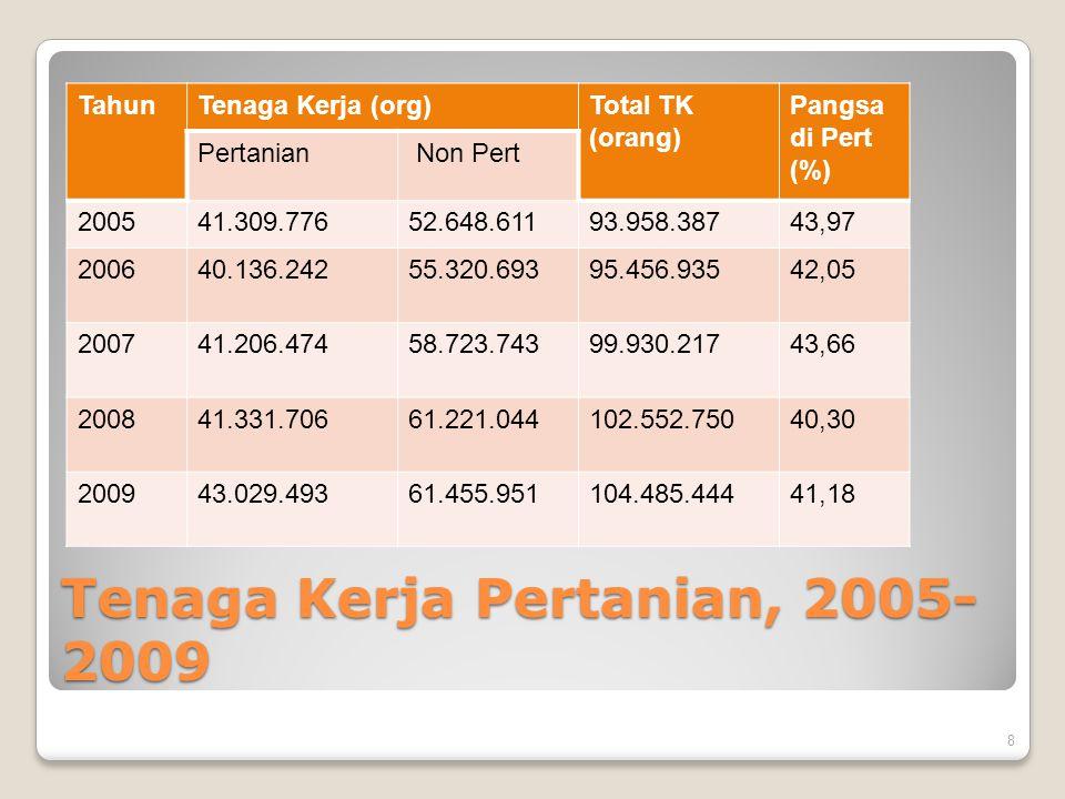 Tenaga Kerja Pertanian, 2005-2009
