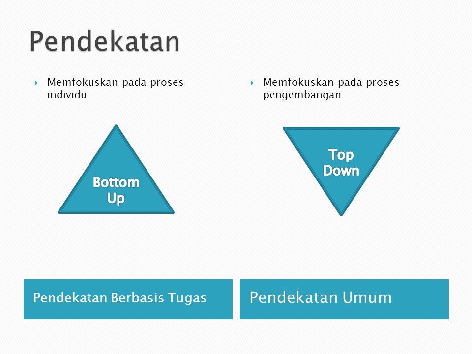 Pendekatan Pendekatan Umum Top Down Bottom Up