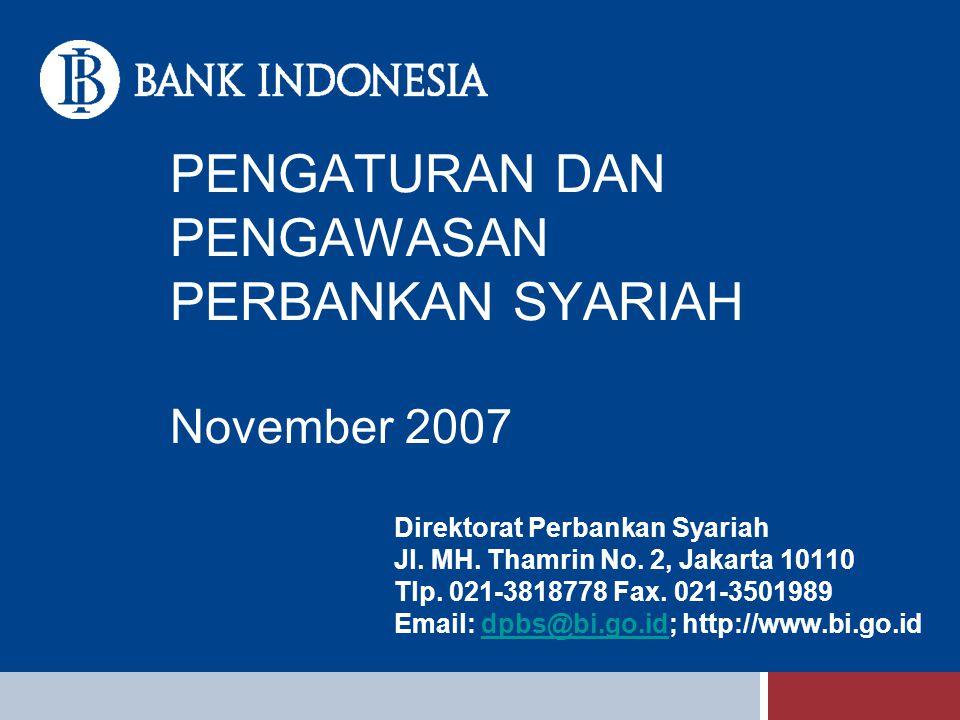 PENGATURAN DAN PENGAWASAN PERBANKAN SYARIAH November 2007