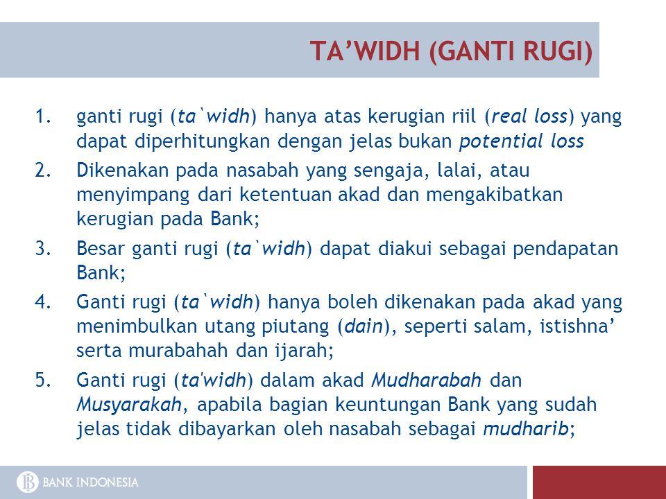 TA'WIDH (GANTI RUGI) ganti rugi (ta`widh) hanya atas kerugian riil (real loss) yang dapat diperhitungkan dengan jelas bukan potential loss.