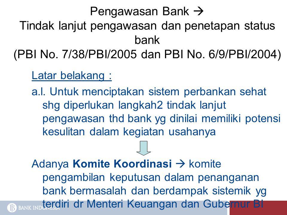 Pengawasan Bank  Tindak lanjut pengawasan dan penetapan status bank (PBI No. 7/38/PBI/2005 dan PBI No. 6/9/PBI/2004)