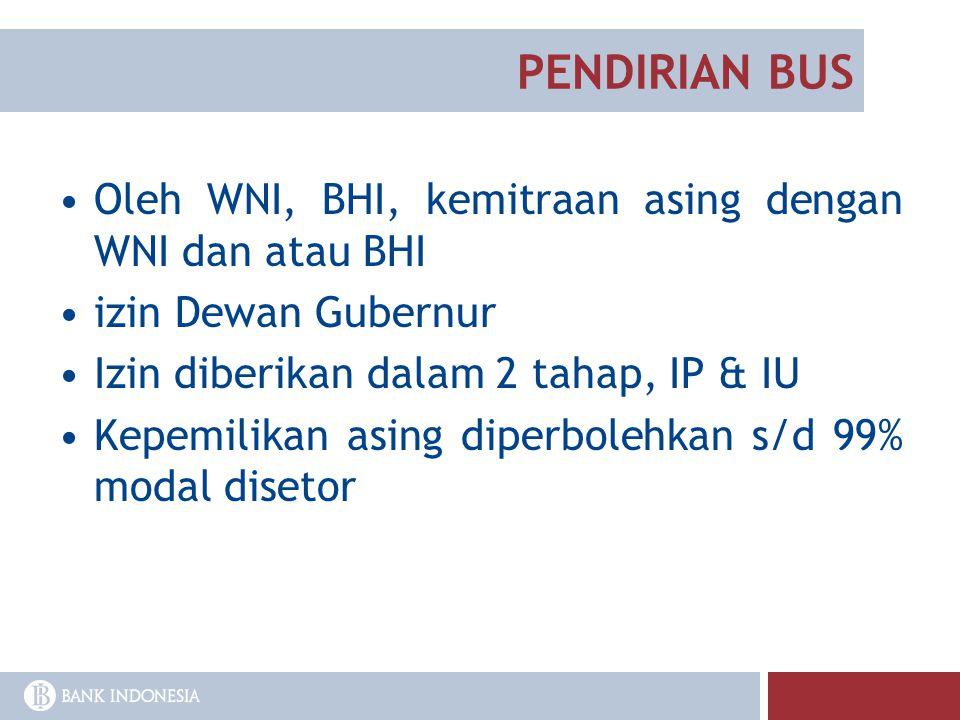 PENDIRIAN BUS Oleh WNI, BHI, kemitraan asing dengan WNI dan atau BHI