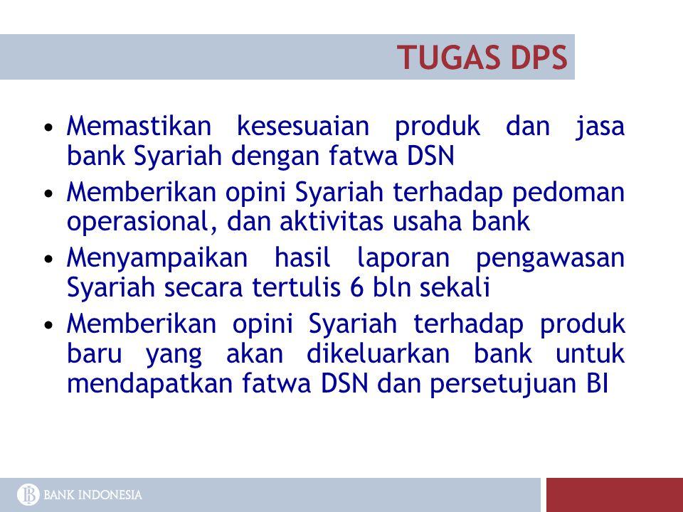 TUGAS DPS Memastikan kesesuaian produk dan jasa bank Syariah dengan fatwa DSN.