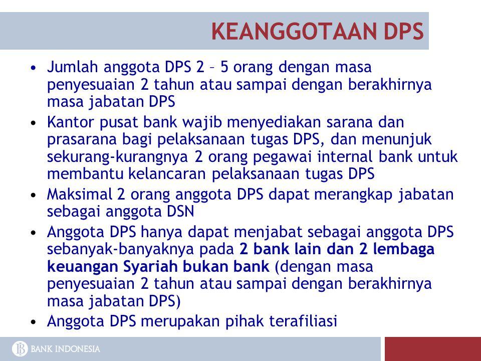KEANGGOTAAN DPS Jumlah anggota DPS 2 – 5 orang dengan masa penyesuaian 2 tahun atau sampai dengan berakhirnya masa jabatan DPS.