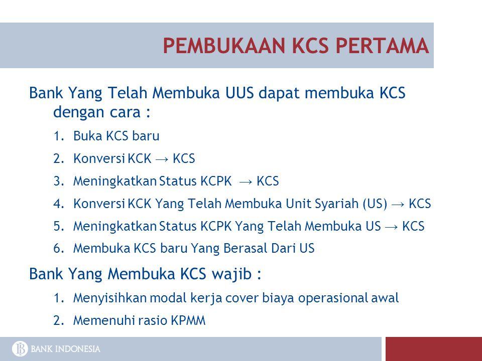 PEMBUKAAN KCS PERTAMA Bank Yang Telah Membuka UUS dapat membuka KCS dengan cara : Buka KCS baru. Konversi KCK → KCS.