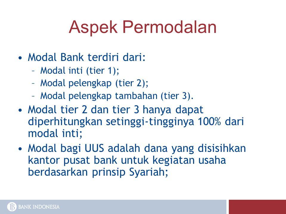Aspek Permodalan Modal Bank terdiri dari: