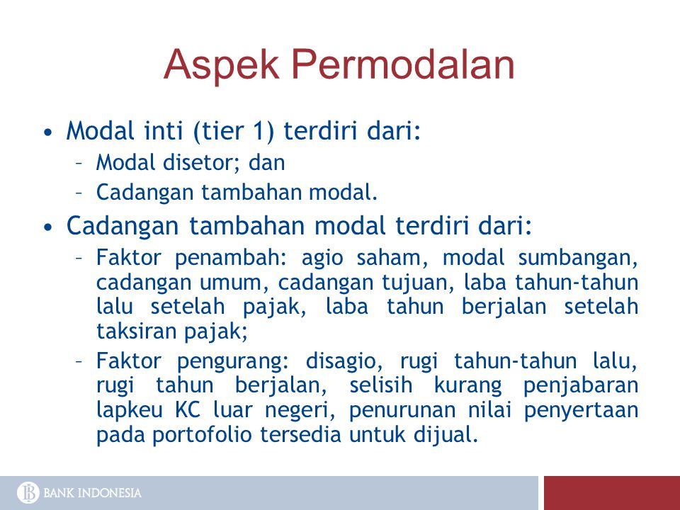 Aspek Permodalan Modal inti (tier 1) terdiri dari: