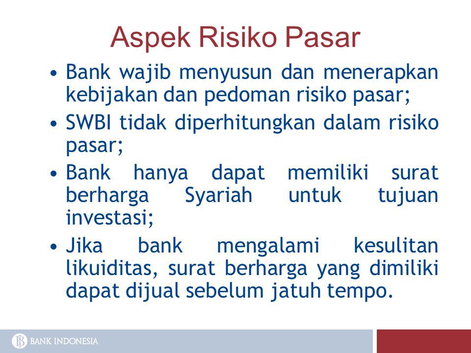 Aspek Risiko Pasar Bank wajib menyusun dan menerapkan kebijakan dan pedoman risiko pasar; SWBI tidak diperhitungkan dalam risiko pasar;