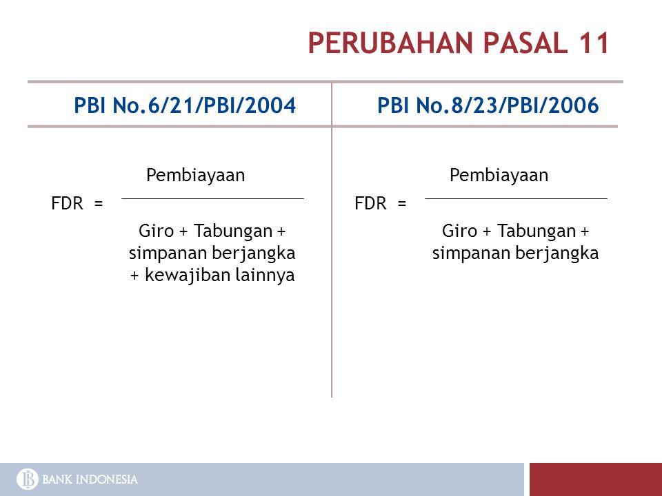 PERUBAHAN PASAL 11 PBI No.6/21/PBI/2004 PBI No.8/23/PBI/2006