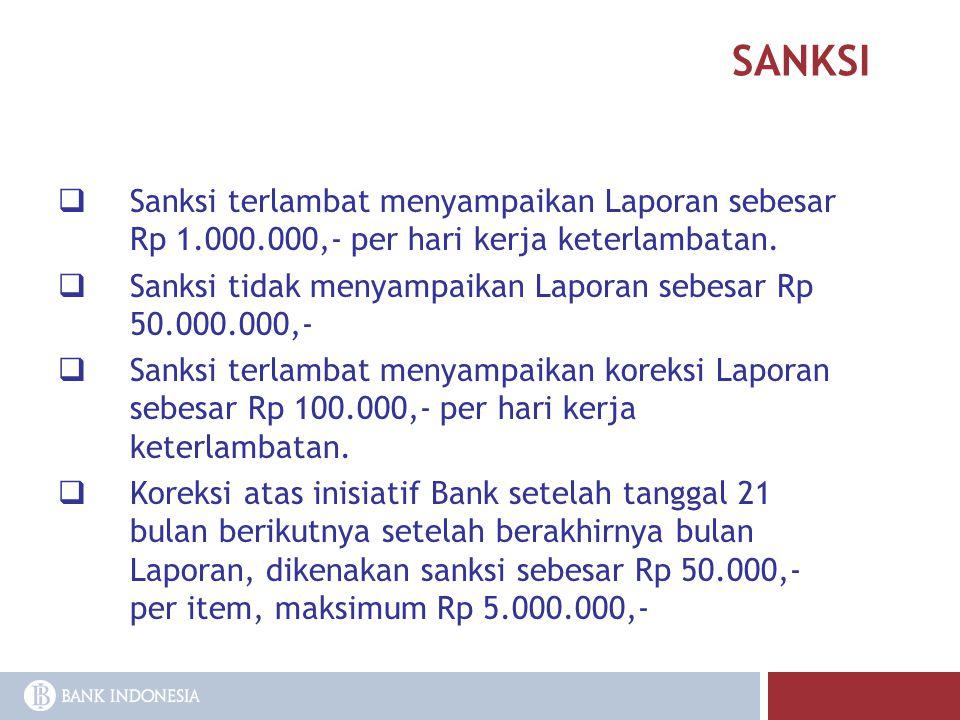 SANKSI Sanksi terlambat menyampaikan Laporan sebesar Rp 1.000.000,- per hari kerja keterlambatan.