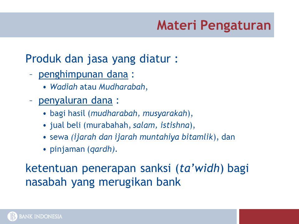 Materi Pengaturan Produk dan jasa yang diatur :