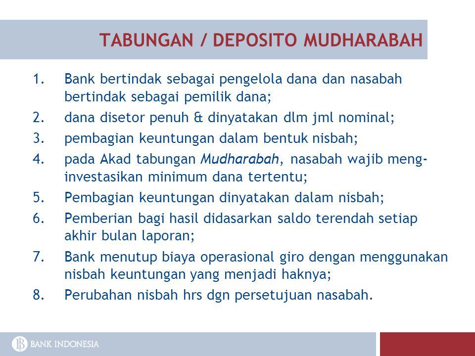 TABUNGAN / DEPOSITO MUDHARABAH