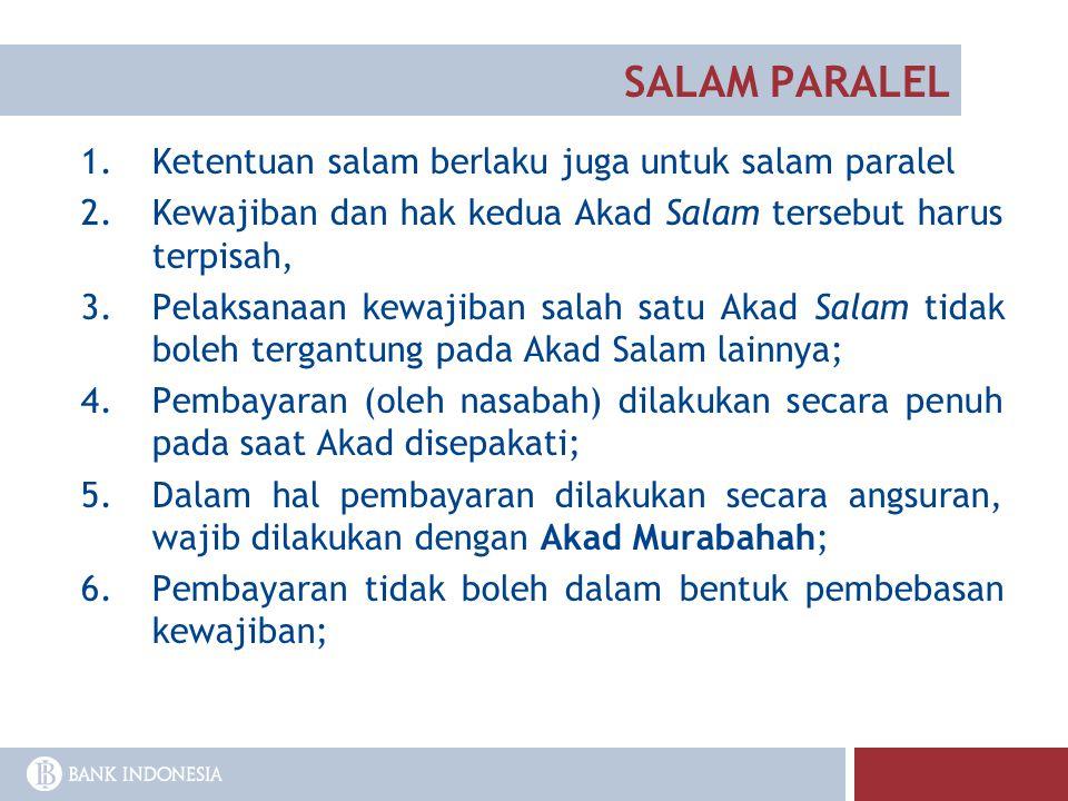 SALAM PARALEL Ketentuan salam berlaku juga untuk salam paralel