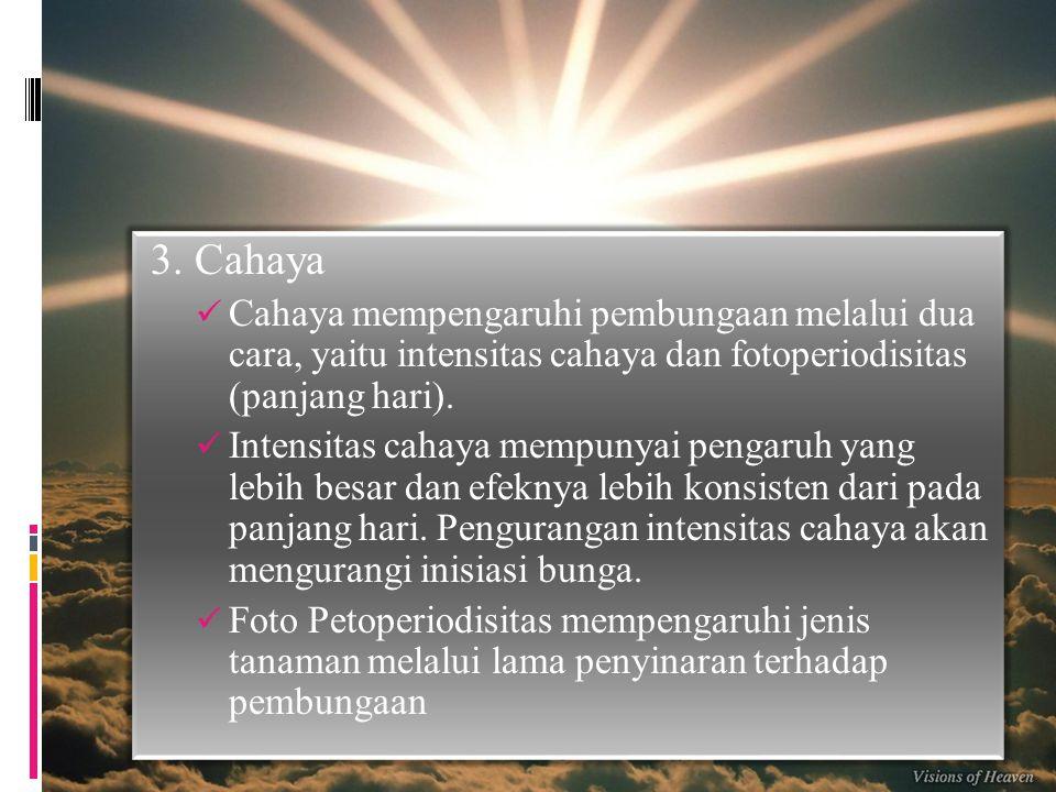 3. Cahaya Cahaya mempengaruhi pembungaan melalui dua cara, yaitu intensitas cahaya dan fotoperiodisitas (panjang hari).