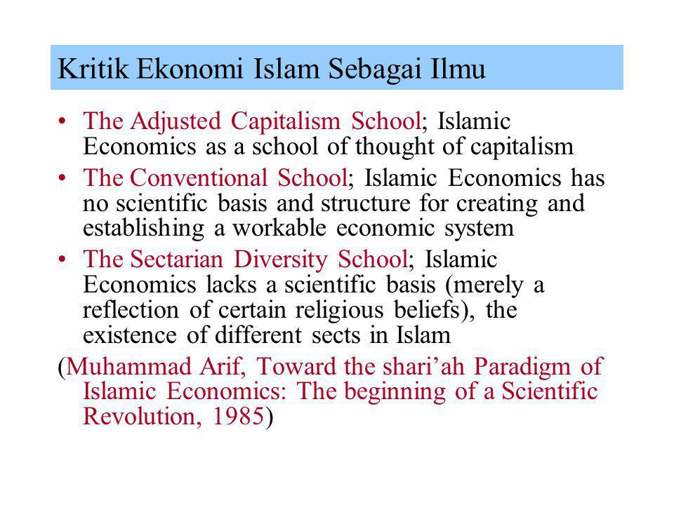 Kritik Ekonomi Islam Sebagai Ilmu