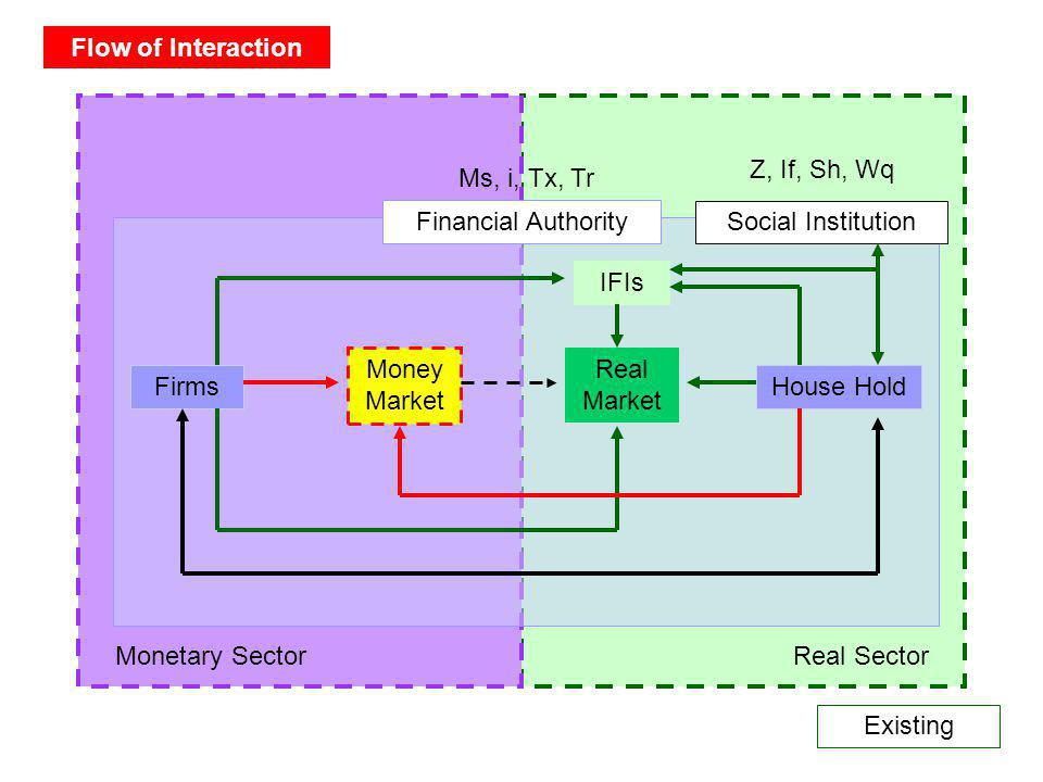 Flow of Interaction Z, If, Sh, Wq. Ms, i, Tx, Tr. Financial Authority. Social Institution. IFIs.