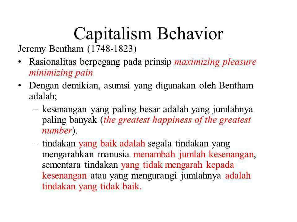 Capitalism Behavior Jeremy Bentham (1748-1823)
