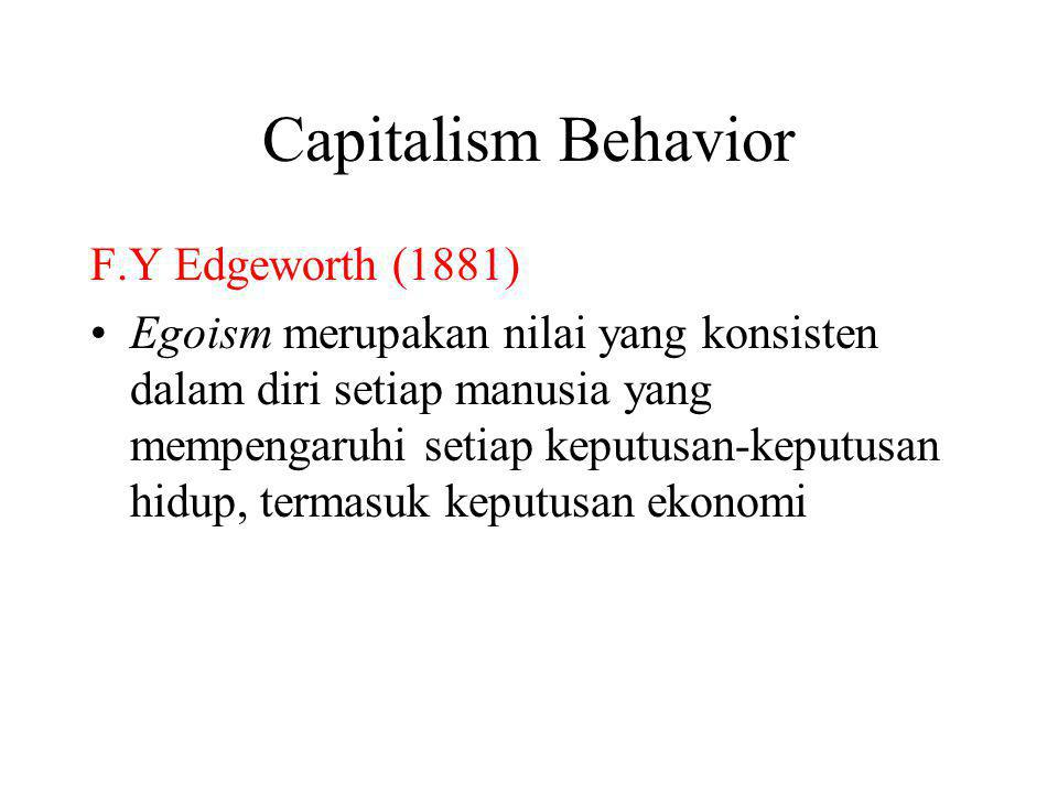 Capitalism Behavior F.Y Edgeworth (1881)