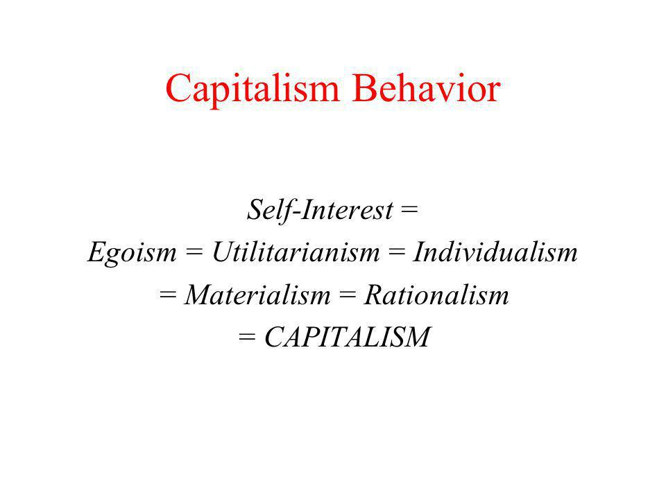 Capitalism Behavior Self-Interest =