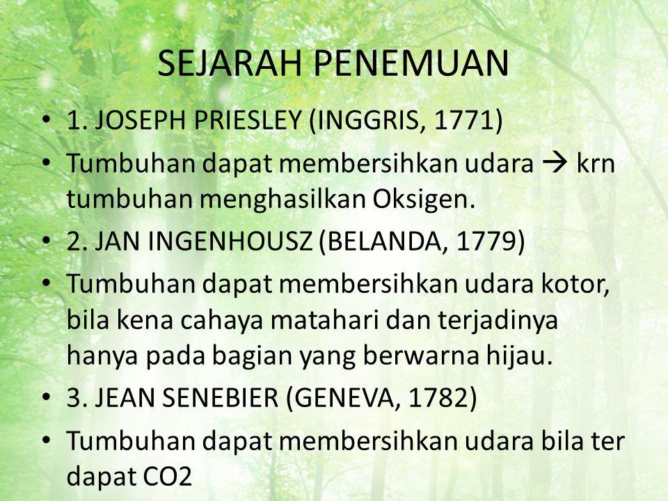 SEJARAH PENEMUAN 1. JOSEPH PRIESLEY (INGGRIS, 1771)