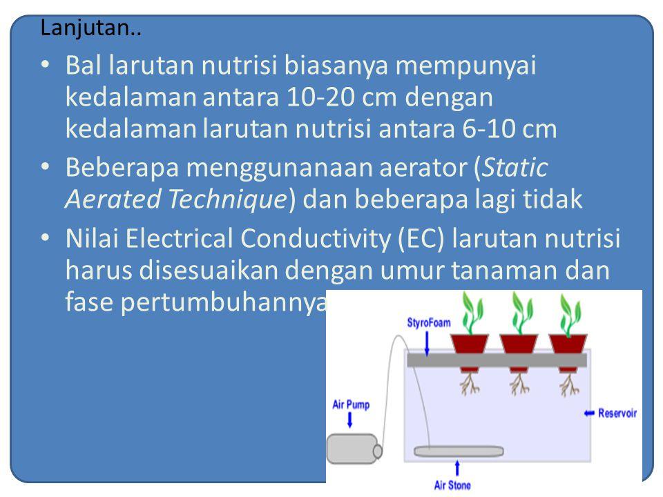 Lanjutan.. Bal larutan nutrisi biasanya mempunyai kedalaman antara 10-20 cm dengan kedalaman larutan nutrisi antara 6-10 cm.