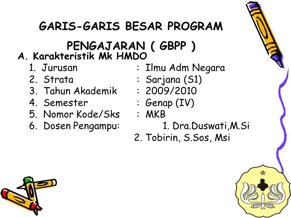 GARIS-GARIS BESAR PROGRAM PENGAJARAN ( GBPP )