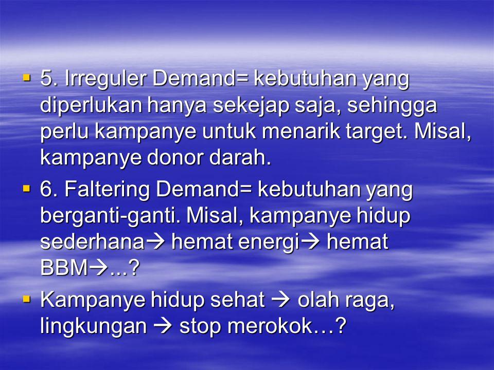 5. Irreguler Demand= kebutuhan yang diperlukan hanya sekejap saja, sehingga perlu kampanye untuk menarik target. Misal, kampanye donor darah.