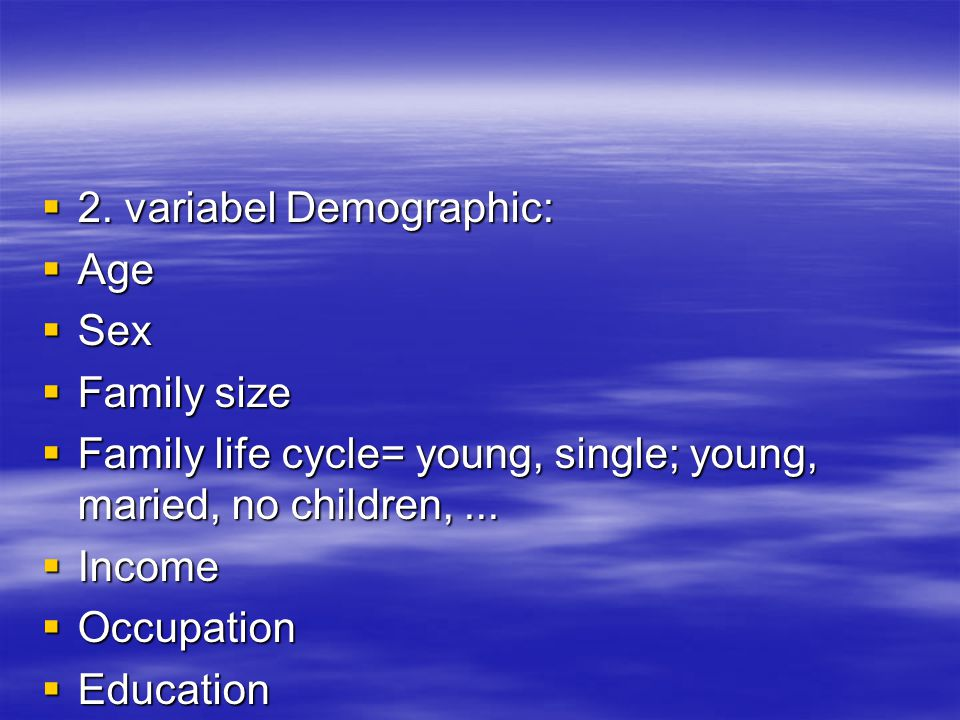 2. variabel Demographic: