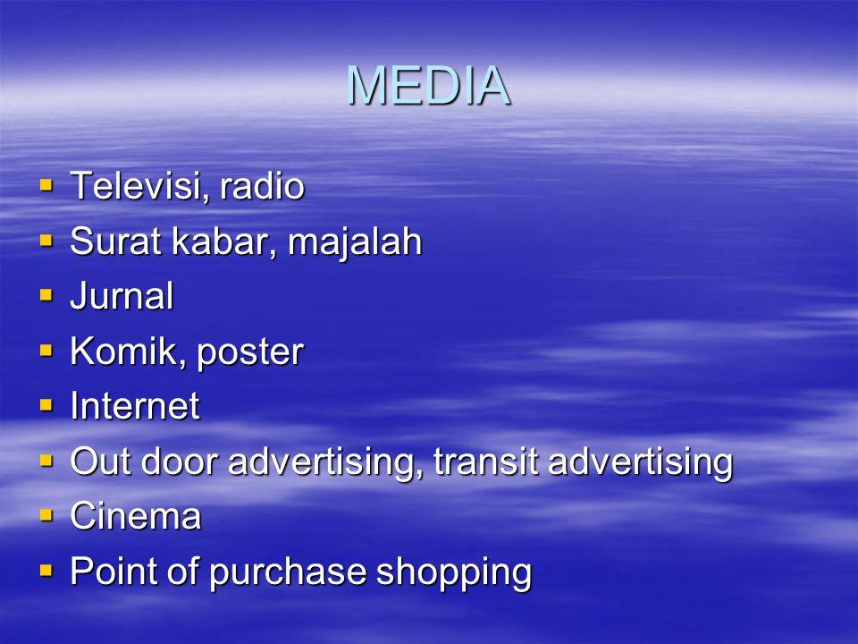 MEDIA Televisi, radio Surat kabar, majalah Jurnal Komik, poster