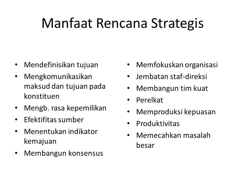 Manfaat Rencana Strategis
