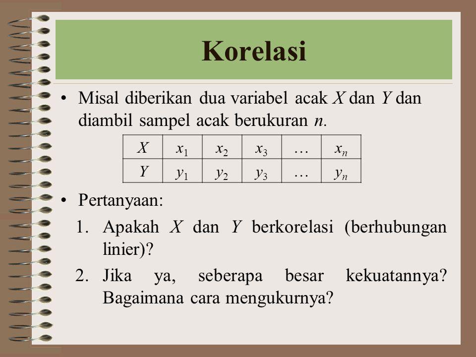 Korelasi Misal diberikan dua variabel acak X dan Y dan diambil sampel acak berukuran n. Pertanyaan: