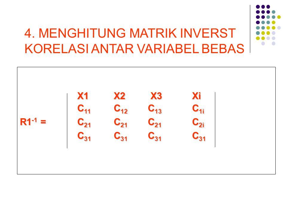4. MENGHITUNG MATRIK INVERST KORELASI ANTAR VARIABEL BEBAS