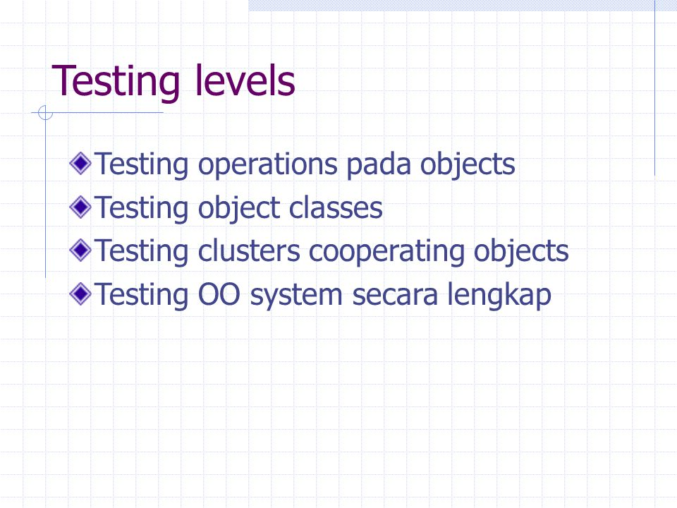 Testing levels Testing operations pada objects Testing object classes