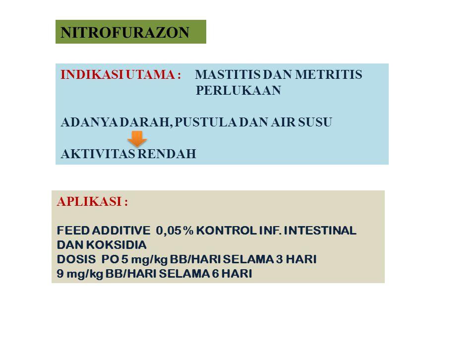 NITROFURAZON INDIKASI UTAMA : MASTITIS DAN METRITIS PERLUKAAN