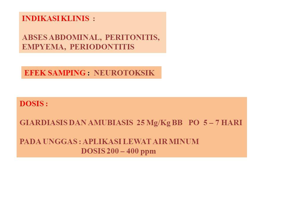 INDIKASI KLINIS : ABSES ABDOMINAL, PERITONITIS, EMPYEMA, PERIODONTITIS. EFEK SAMPING : NEUROTOKSIK.