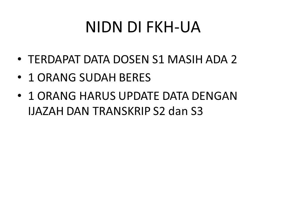 NIDN DI FKH-UA TERDAPAT DATA DOSEN S1 MASIH ADA 2 1 ORANG SUDAH BERES