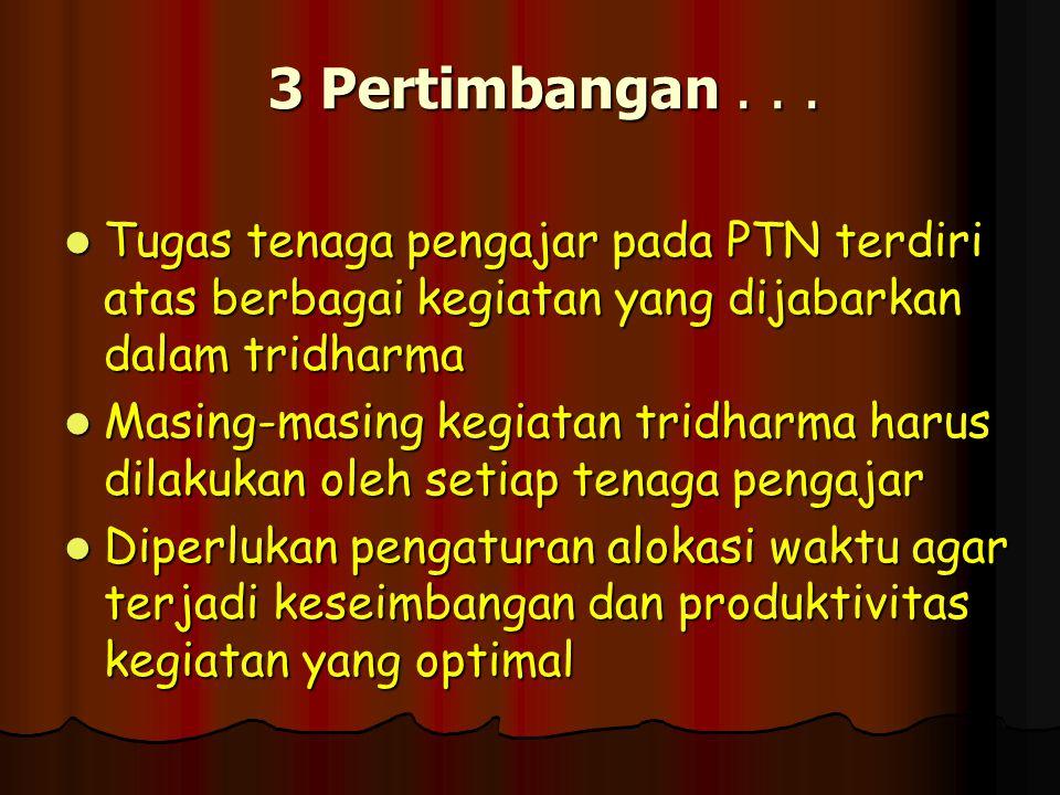 3 Pertimbangan . . . Tugas tenaga pengajar pada PTN terdiri atas berbagai kegiatan yang dijabarkan dalam tridharma.