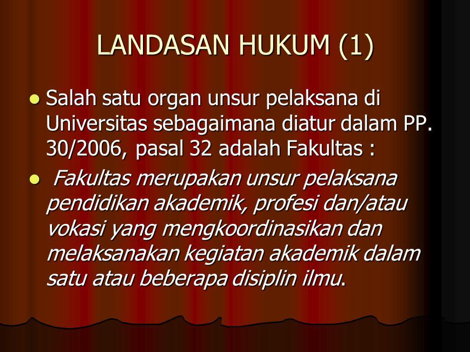 LANDASAN HUKUM (1) Salah satu organ unsur pelaksana di Universitas sebagaimana diatur dalam PP. 30/2006, pasal 32 adalah Fakultas :