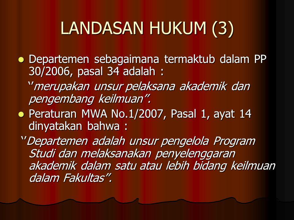LANDASAN HUKUM (3) Departemen sebagaimana termaktub dalam PP 30/2006, pasal 34 adalah :