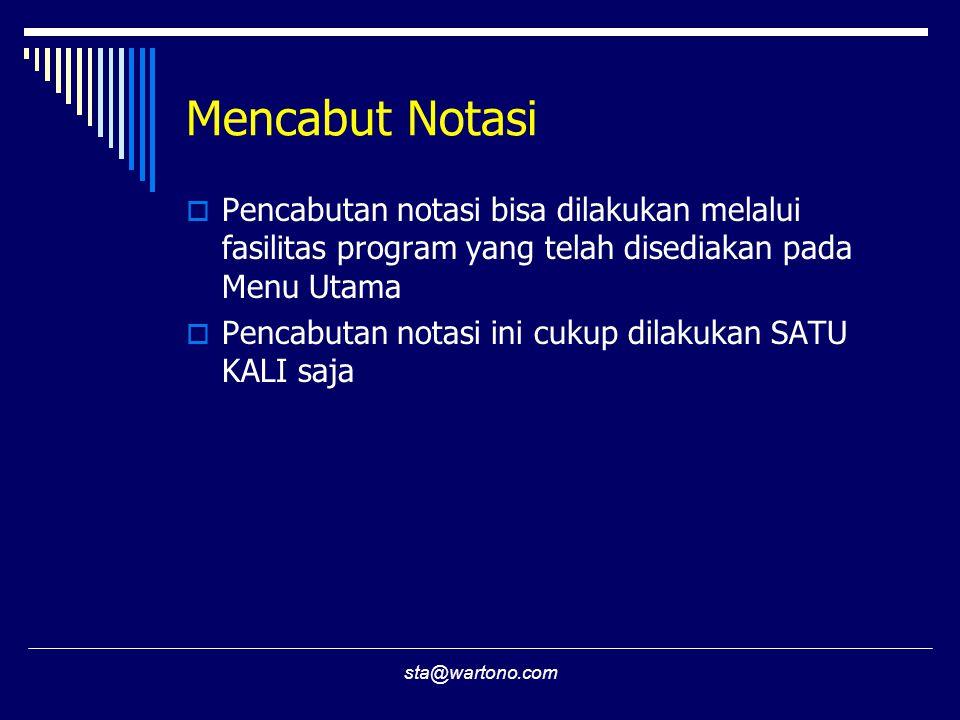 Mencabut Notasi Pencabutan notasi bisa dilakukan melalui fasilitas program yang telah disediakan pada Menu Utama.