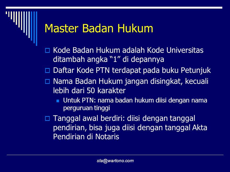 Master Badan Hukum Kode Badan Hukum adalah Kode Universitas ditambah angka 1 di depannya. Daftar Kode PTN terdapat pada buku Petunjuk.