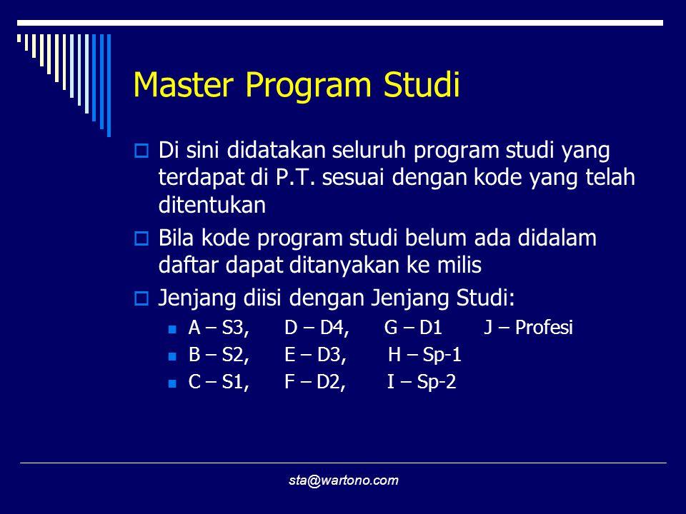 Master Program Studi Di sini didatakan seluruh program studi yang terdapat di P.T. sesuai dengan kode yang telah ditentukan.