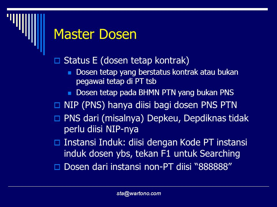 Master Dosen Status E (dosen tetap kontrak)